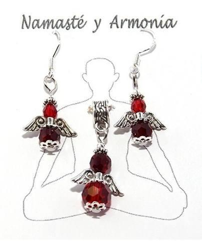 Aretes Y Dije Ángel Cristales Swarovski Color Rojo Ref:053