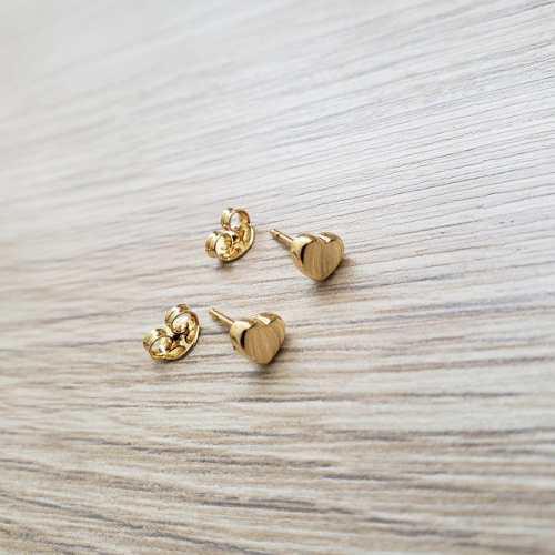Topos Oro Laminado Corazon Mini En Oro Laminado 18 K