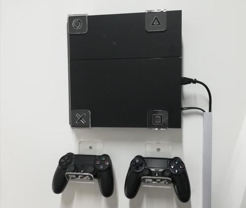Soporte Consola Repisa Pared Ps4 Slim Fat Mas 2 Sop Control