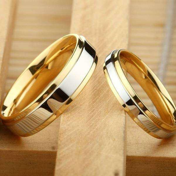 Argollas de matrimonio chapado en oro 18 k.