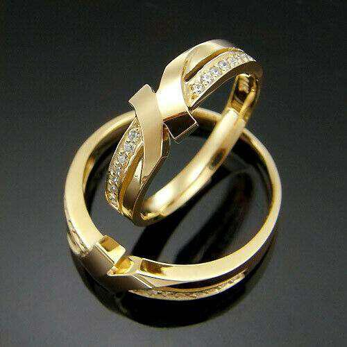 Argollas de matrimonio chapado en oro 18k y topacio.