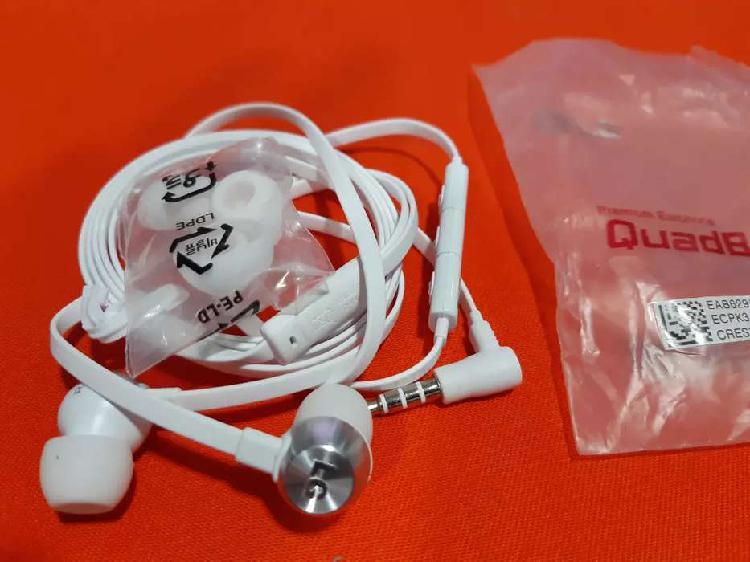 Audifono manos libres premium LG original color blanco para