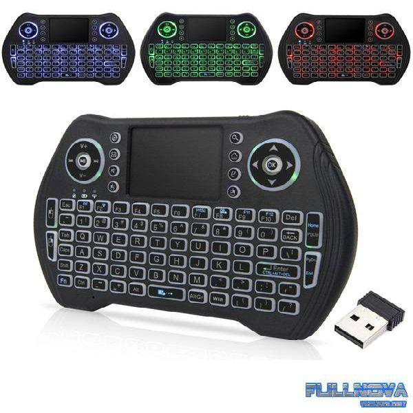 Mini Teclado Inalambrico Para Smart Android Tv Mt 10 Led Rgb