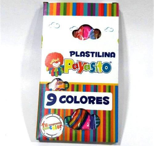 Caja De Plastilina Larga Marca Payasito X 9 Unidades Colores