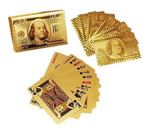 24k Golden Totem Poker Naipes De Medalla De Oro Impermeables