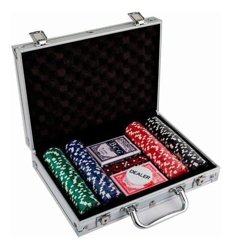Set De Poker De Lujo Con 200 Fichas 2 Barajas Dados Estuche