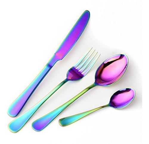 Arco Iris Vajilla Conjunto Cubiertos - Espejo Pulido, C