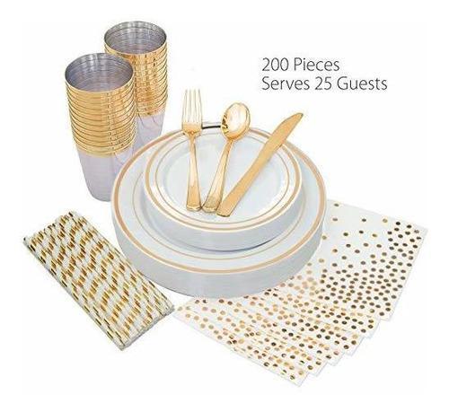 Placas 25 Invitados Cubiertos Plástico, Servilletas Oro Or