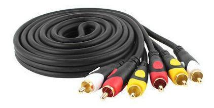 Negro De 1,8 M 6ft 3 Rca Macho Macho M. Av Video Audio Cable