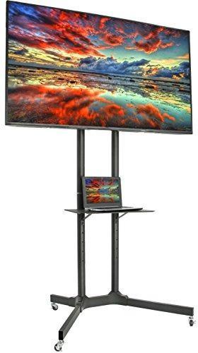 Vivo Black Tv Cart Para Lcd Led Plasma Flat Panel Stand W