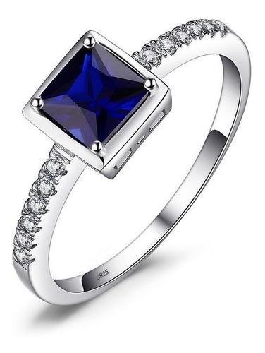 Anillo Mujer Compromiso Zafiro Azul Fabricado En Plata 925