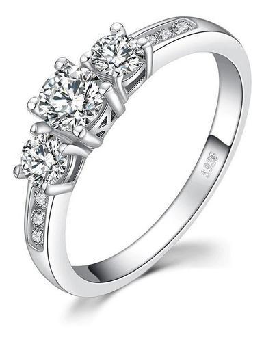 Anillo Mujer Triple Circón Compromiso Matrimonio Plata 925
