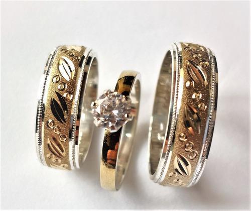 Argollas Matrimonio Oro 18 K Y Plata Gratis Anillo Compromis
