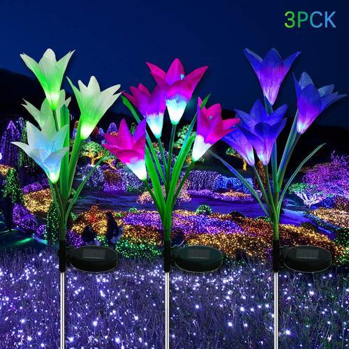 Luces Solares De Flor Led Para Exteriores Paquete De 3...