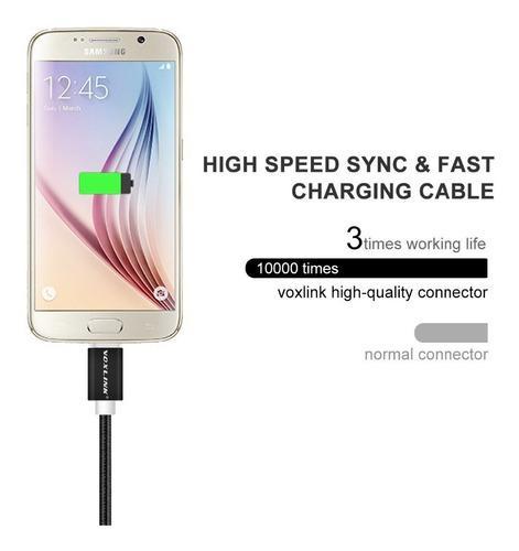 Cable Microusb Android Nylon Carga Rápida 2 Mts Azul