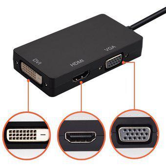 3 En 1 Mini Display Port 1.1a DP Thunderbolt A DVI VGA