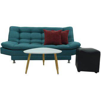 Sofa cama 3 posiciones, Moltochic + mesa de centro y puff