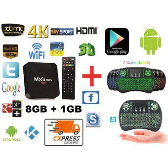 TV BOX 4K DD 8GB, RAM 1GB Quad Core + Mini Teclado Con Mouse