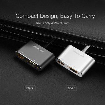 Ugreen 2 En 1 HD 1080P 4K Thunderbolt Mini DisplayPort DP A