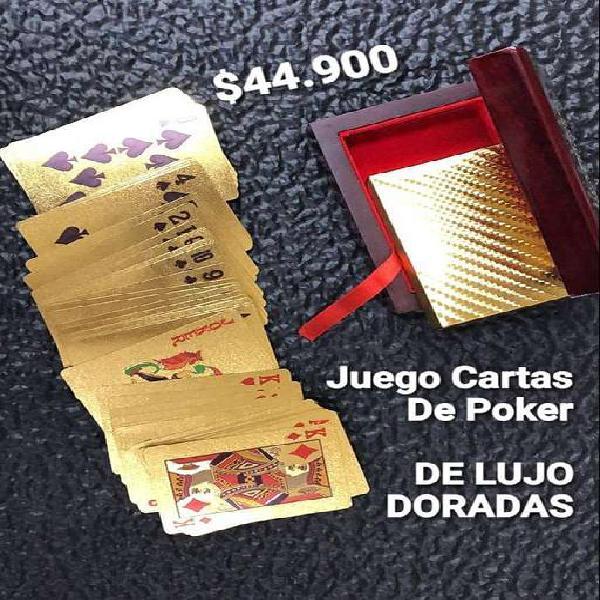 JUEGO DE CARTAS POKER DORADAS DE LUJO CON ESTUCHE.
