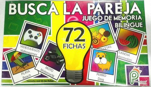 Busca La Pareja 72 Fichas Juego De Memoria Bilingue Cartón
