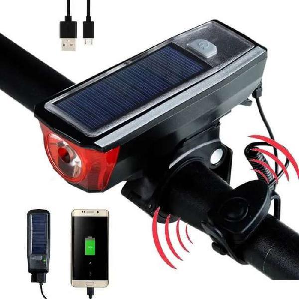Lampara Luz Linterna Bicicleta Led Cree Solar + Bocina