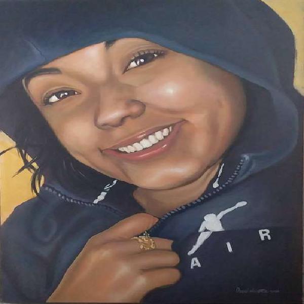 se hacen retratos en óleo y lápiz
