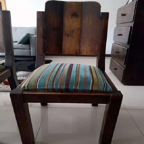 Sillas de madera rustica x 6