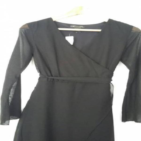 Vestido negro seda