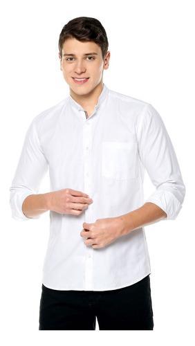 Camisa Cuello Neru Manga Larga Blanca Los Caballeros