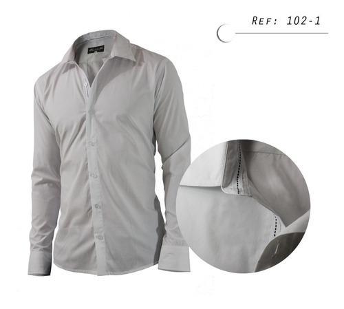 Camisa De Hombre Informal, Manga Larga, Blanca