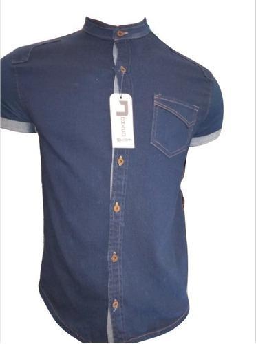 Camisa Jean Hielo Para Hombre Tipo Urbano Cuello Neru
