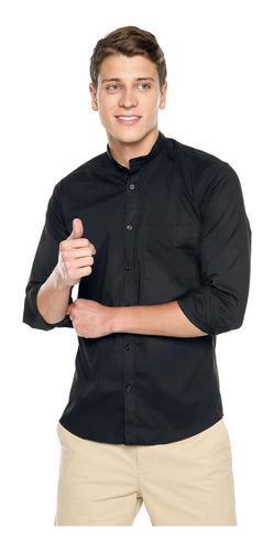 Camisa Los Caballeros Cuello Neru Negra Media Pechera