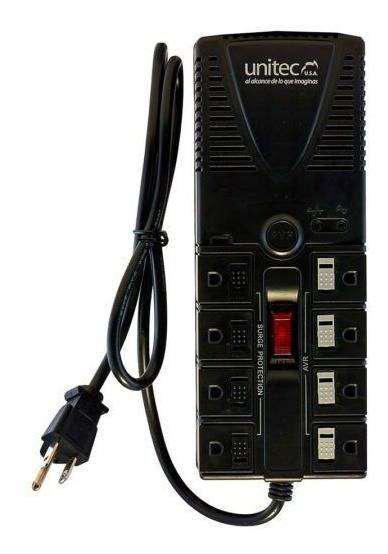 Regulador Estabilizador de Voltaje 1200v / Multitoma 8 Tomas