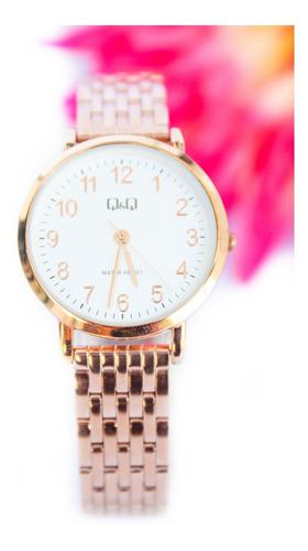 Reloj Q&q Qyq Original Acero Oro Rosa Mujer + Envío Gratis