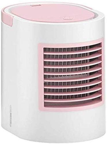 Mini Enfriador De Aire Portátil Con Luz Led 7 Colores -rosa