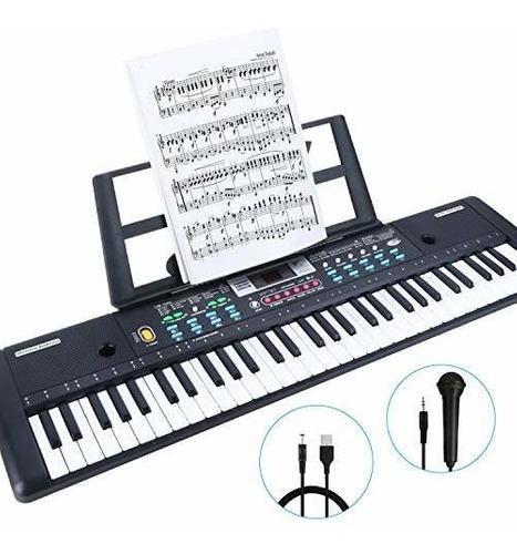 Teclado De Piano De 61 Teclas Renfox Con Microfono Y Atril T