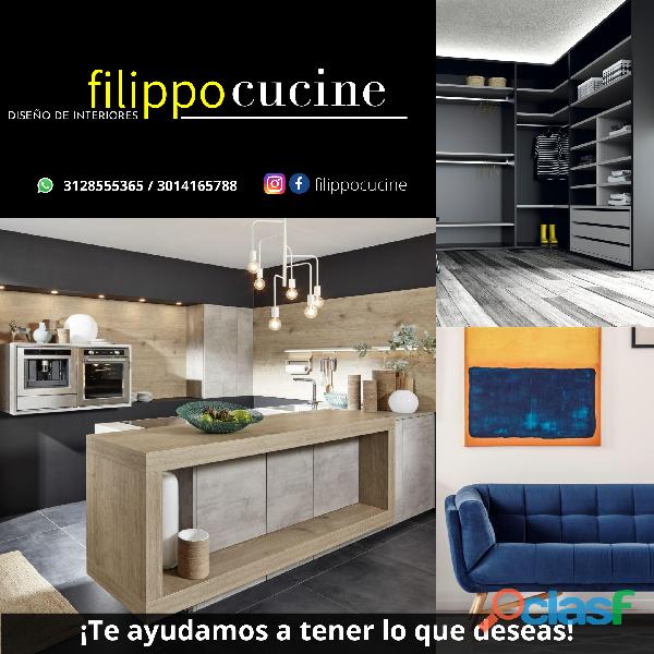Diseño de cocinas integrales, Muebles, Clósets, Mármol,