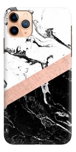 Case - Mármol Negro Blanco Con Franja Oro Rosa