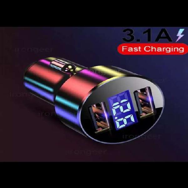 Cargador para carro con pantalla LED doble salida
