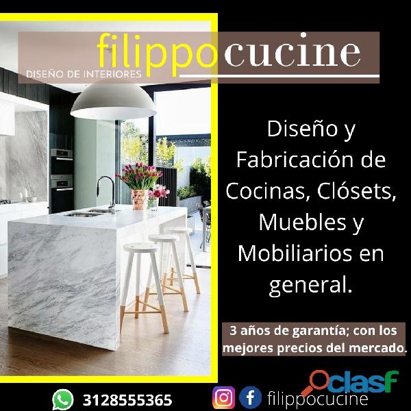 Diseño de interiores, Cocinas, Muebles, Clósets y