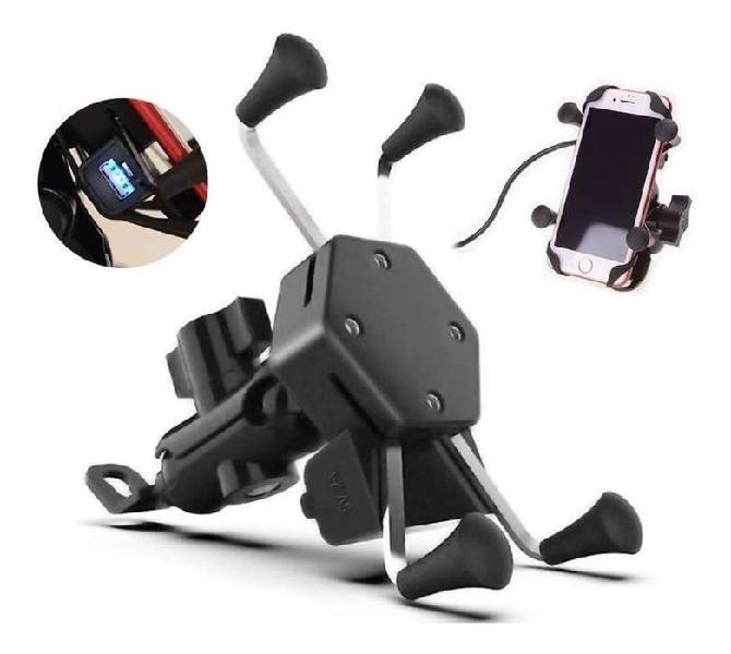 Soporte Celular Tipo Araña Moto Base Espejo + Cargador Usb