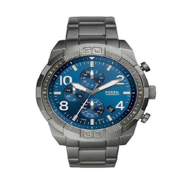 Reloj Fossil Bronson Fs5711 Negro Tablero Azul Formal