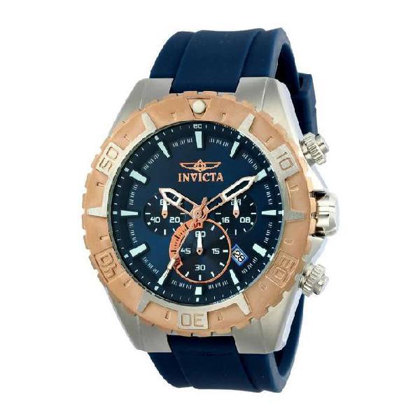Reloj Invicta Aviator 22523 Silicona Azul Oro Rosa Elegante